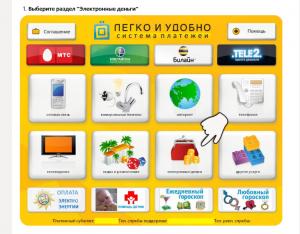 Выбрать кнопку «Электронные деньги»