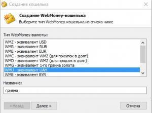 Выбор гривны в WinPro