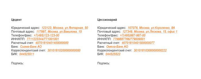 Юридические адреса и банковские реквизиты