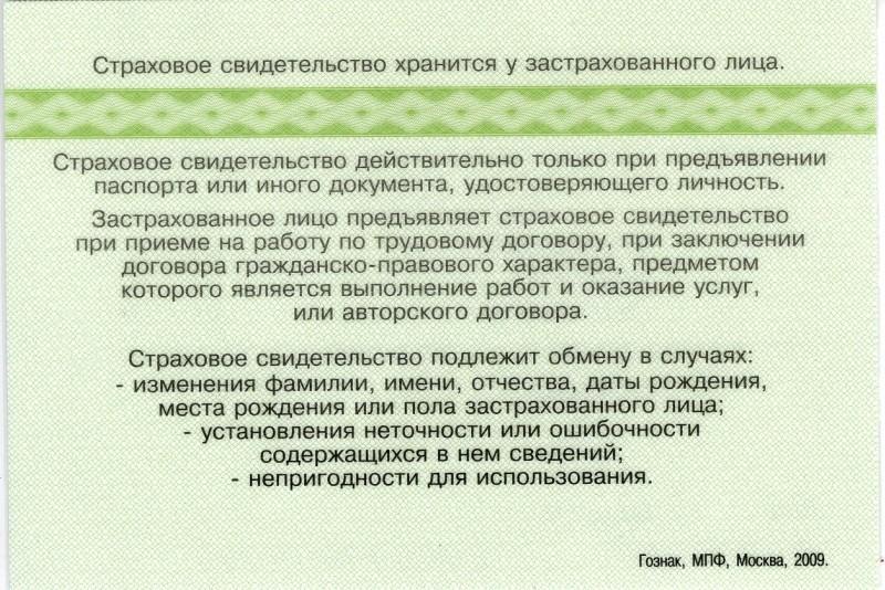 Задняя сторона документа
