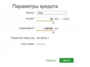 Параметры кредита