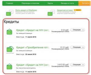 Раздел «Кредиты»