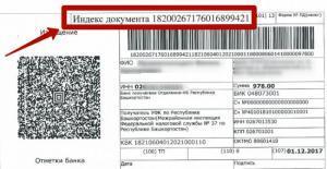 Индекс документа в квитанции